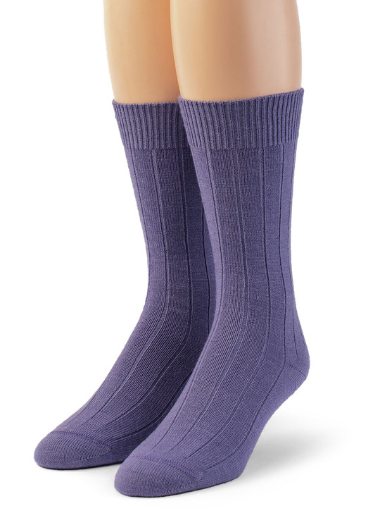 100% Baby Alpaca Wide Ribbed Lounge Socks - Lavender Front