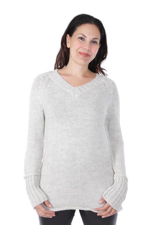 Knightley V-Neck Sweater in 100% Baby Alpaca Wool Front on Model