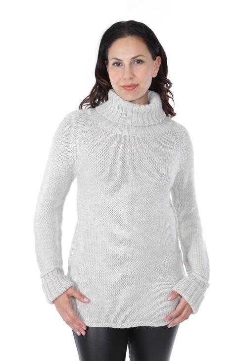 Knightley Turtleneck in 100% Baby Alpaca Wool Front on Model