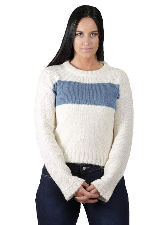Emmy Striped Alpaca Boucle Pullover Front