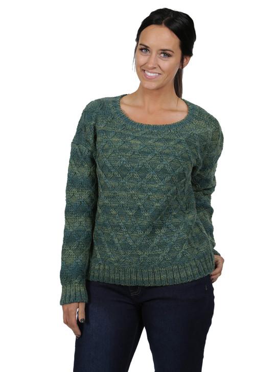 Lattice Knit Alpaca & Wool Pullover Front