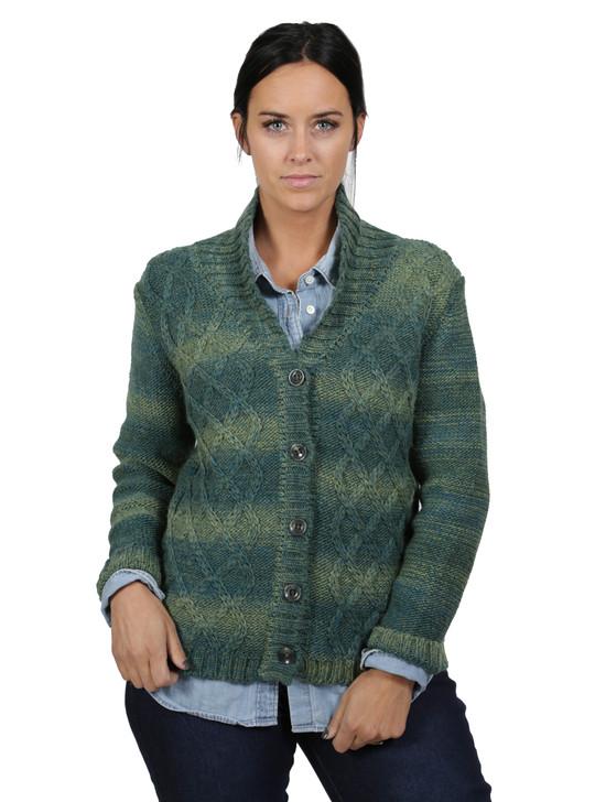 Lattice Knit Alpaca & Wool Cardigan Front