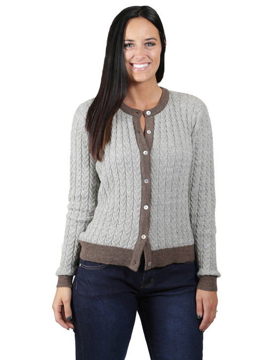 Smoke/Heather Cable Knit Cardigan Front Buttoned