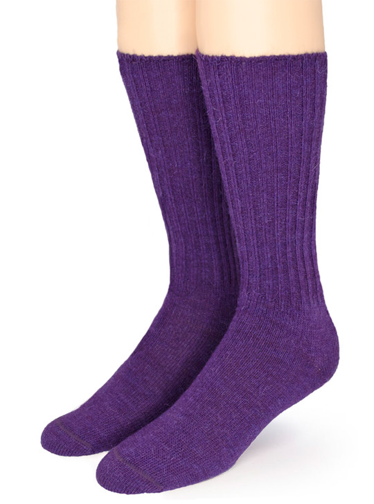 Ribbed Casual 100% Alpaca Wool Socks - in Bright Fashion Colors Purple - Front