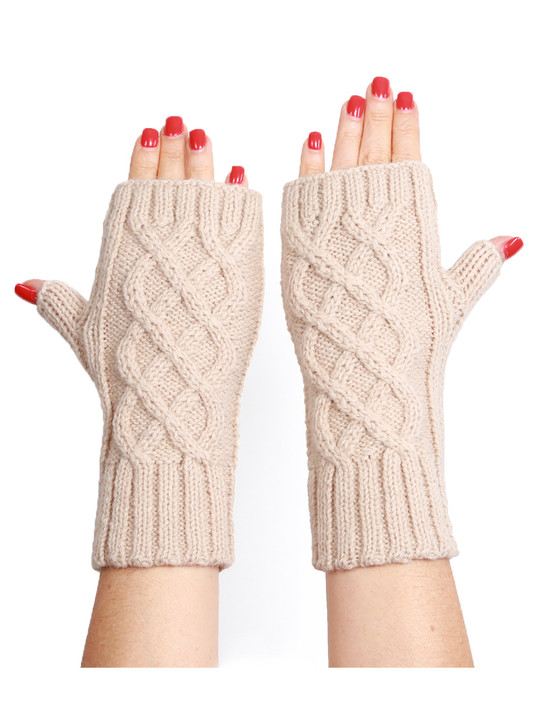 Cable Knit Alpaca Blend Fingerless Gloves / Mittens Back of hand