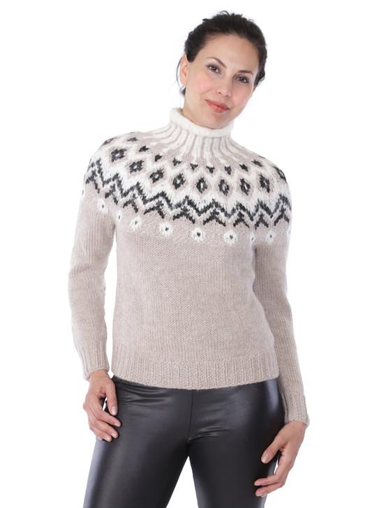 Grace Fair Isle 100% Baby Alpaca Wool Turtleneck Front On Model