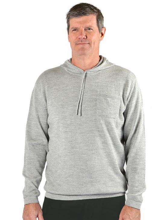 Men's Alpaca Hoodie Pullover Sweater - Gray Main