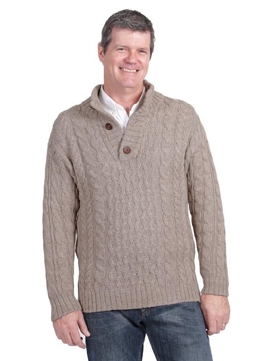 Men's Cable 3-Button Neck Alpaca Pullover Front