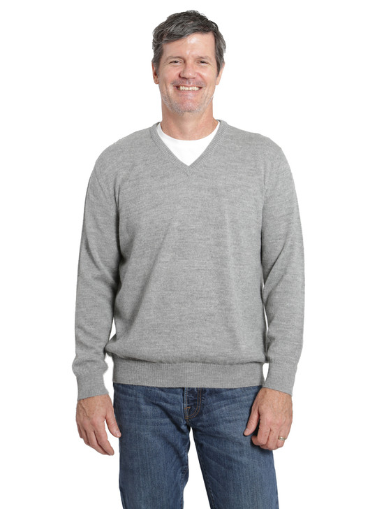 Hailey Alpaca V-Neck Pullover Men's Sweater Front