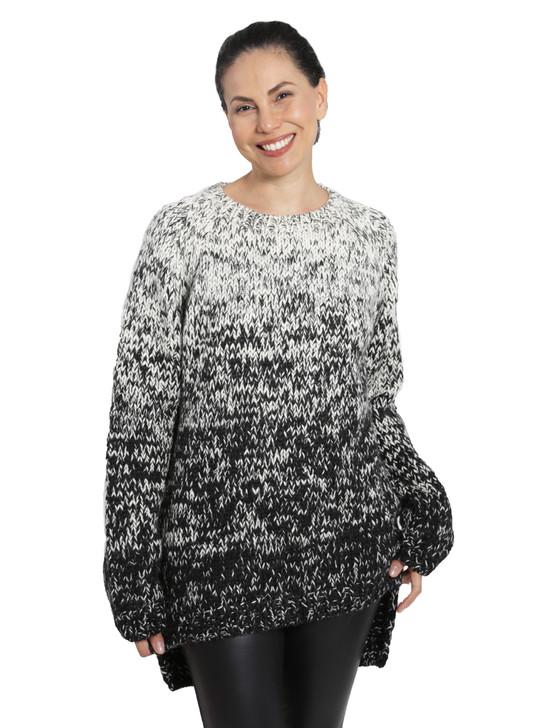 Kourtney Ombre Alpaca Wool Bulky Sweater Front on Model