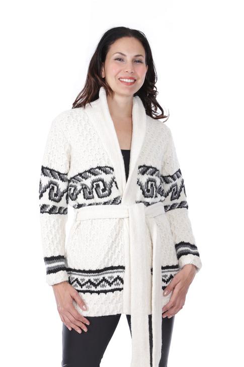 Monroe Bulky Alpaca Wool Blend Cardigan Front on Model
