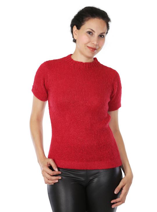 Blair Short Sleeve Suri Alpaca Wool Sweater Front on Model