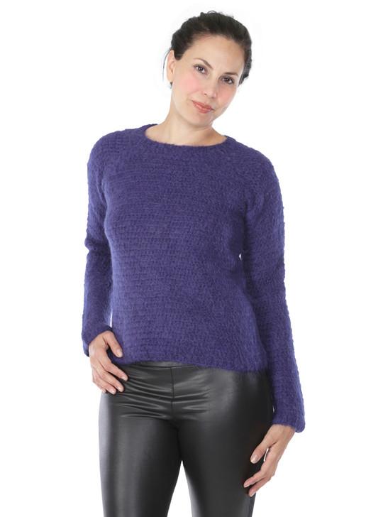 Daphne Crochet Baby Alpaca Wool Pullover  Front on Model
