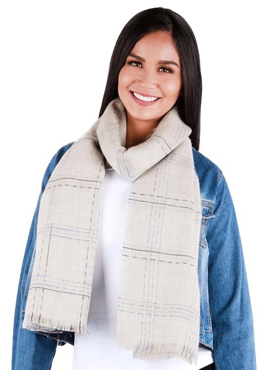 Read Between the Lines 100% Premium Baby Alpaca Wool Blanket Scarf - Grey Blue Looped on Model