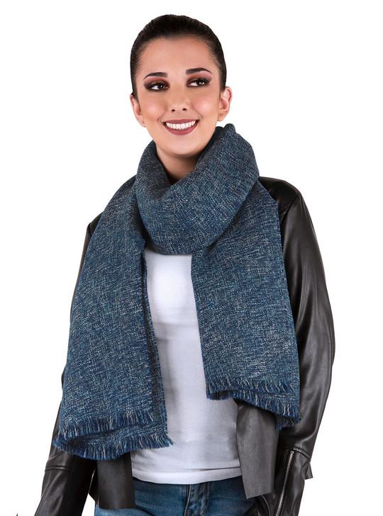 Confetti Baby Alpaca & Wool Oversized Blanket Scarf - Cochella Blue On Female Model
