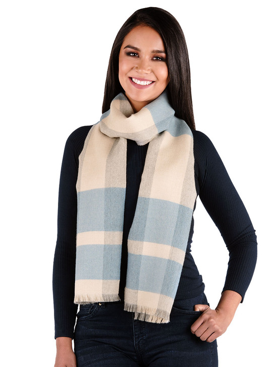 Unearthed Large Plaid 100% Baby Alpaca Wool Scarf - Blue on Model