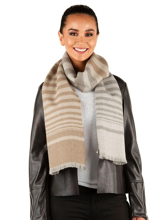 Organic 100% Baby Alpaca Oversized Striped Scarf  Grey Camel Smoke Stripe on Female Model