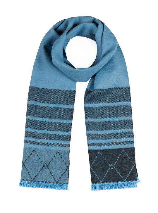 Women's Diamond Stripe 100% Baby Alpaca Scarf with Eyelash Fringe - Blue Main