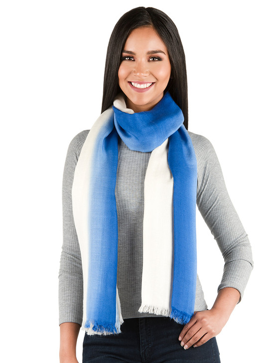 Ombre Stripe Oversized Baby Alpaca & Silk Scarf and Shawl - Looped on Model