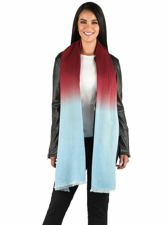 Ombre Oversized Scarf / Shawl in Baby Alpaca & Silk On Model Long