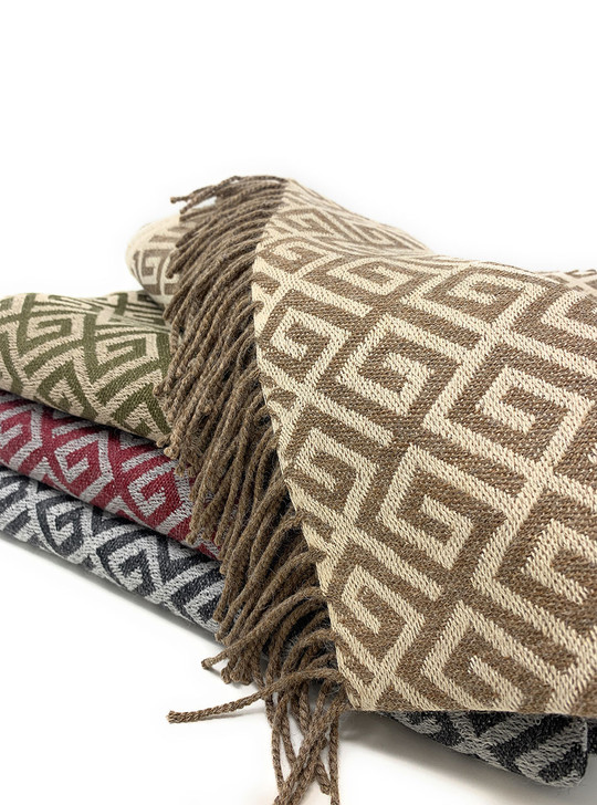 100% Baby Alpaca Wool Geometric Greek Key Throw Blanket Main