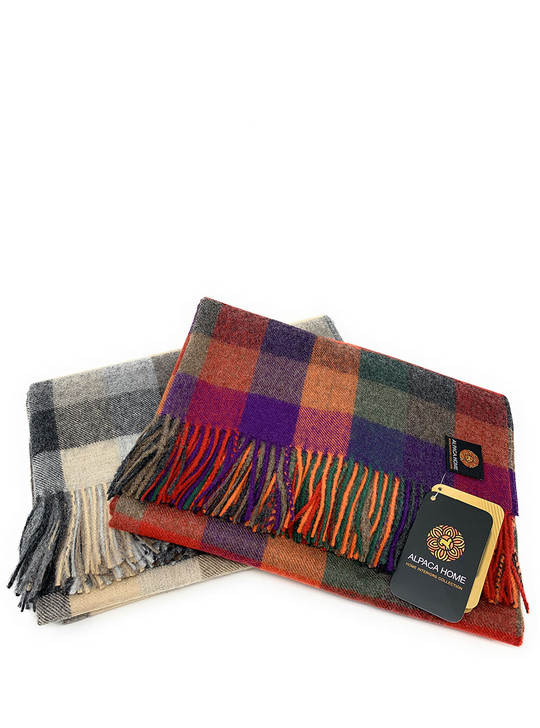 100% Baby Alpaca Cabin Check Throw Blankets Stack