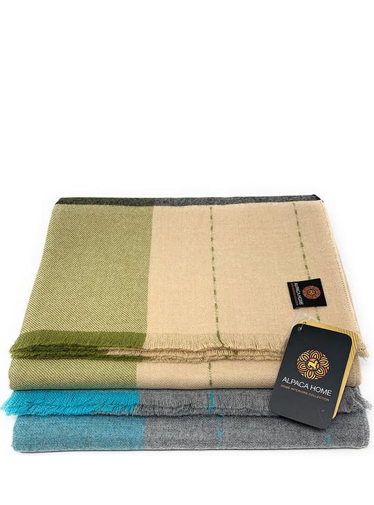 100% Baby Alpaca Wool Big Bad Plaid Throw Blanket Main