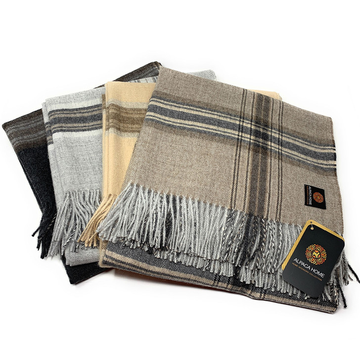 100% Baby Alpaca Wool Great Outdoors Plaid Throw Blanket Main