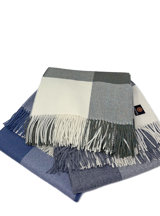 100% Baby Alpaca Wool Cheeky Checks Throw Blanket Stack