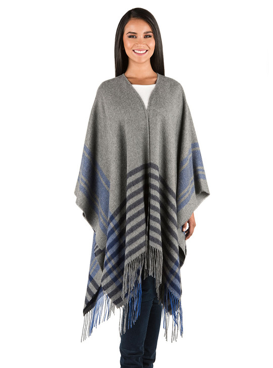 100% Alpaca SoCal Blanket Poncho, Duster & Wrap Grey / Black / Blue Camino Real Plaid - Front