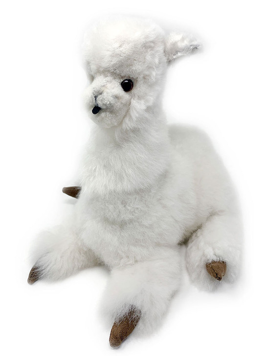 12 inch Sitting Huacaya Alpaca Plush Toy White