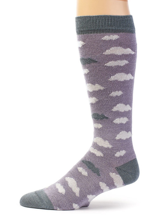 Women's Cloudy Day Novelty 100% Baby Alpaca and Bamboo Dress Sock Side View
