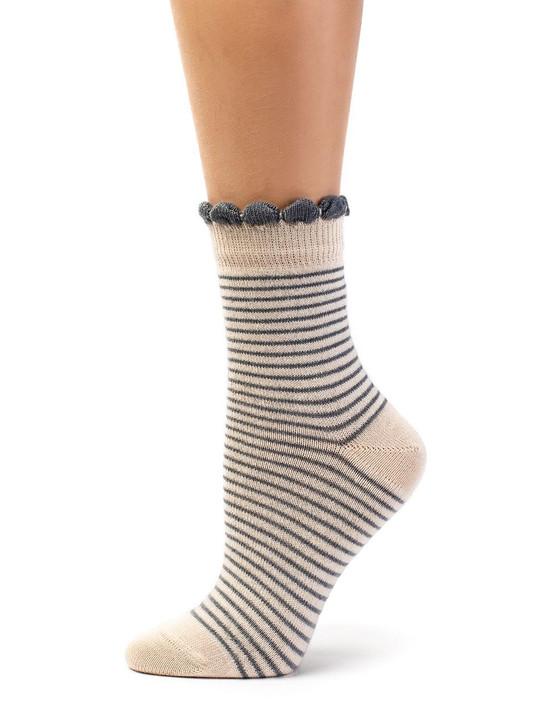 Women's Breton Striped Ankle Socks in 100% Baby Alpaca & Bamboo Blend Side View