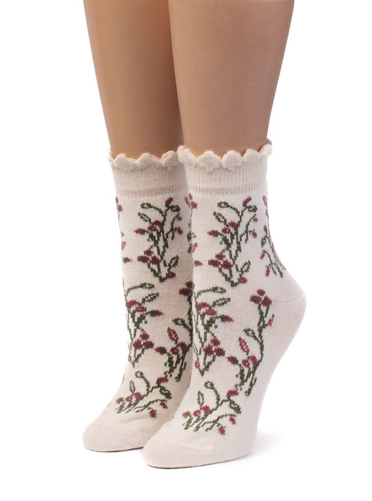 Women's In A Garden - Scallop Trimmed Ankle Socks - 100% Baby Alpaca & Bamboo Bootie / Dress Socks Front View