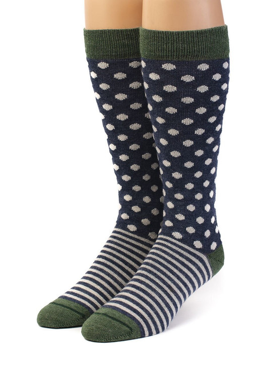 Celestial Dots & Stripes Baby Alpaca and Bamboo Dress Sock Front View