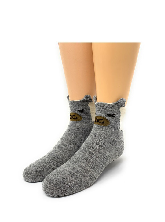 Peek-A-Boo Kid's Baby Alpaca Non-Skid Socks Front View