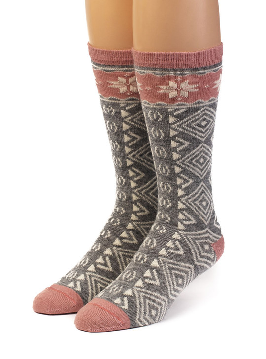 Women's Hygge Nordic Pattern 100% Alpaca Wool Socks  Front View