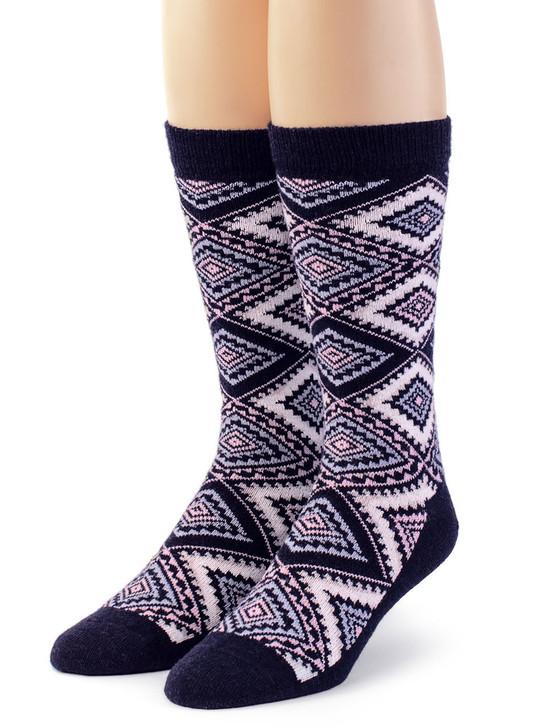 Women's Geometric Diamond Argyle 100% Alpaca Wool Socks Front View