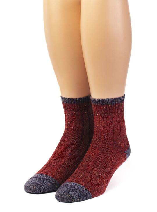 Women's Heritage Speckle Ribbed Ankle Merino Wool &  Alpaca Blend Socks Front View
