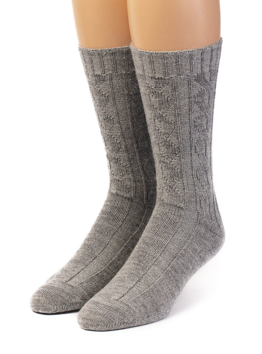 Source of Envy -  Women's Cable 100% Alpaca Wool Socks Front View