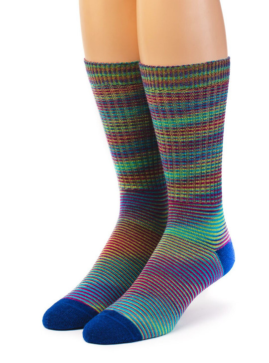 High Frequency 100% Baby Alpaca Wool Dress Socks -Space Dye Front View