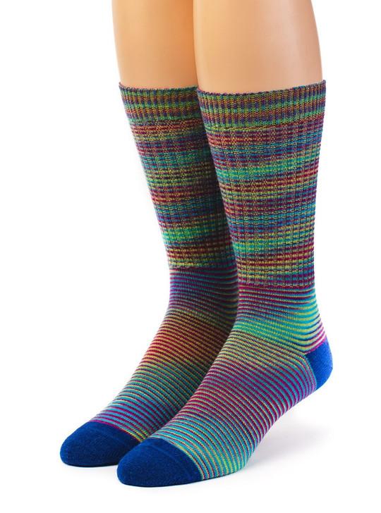 High Frequency 100% Baby Alpaca Wool Dress Socks -Space Dye Front View