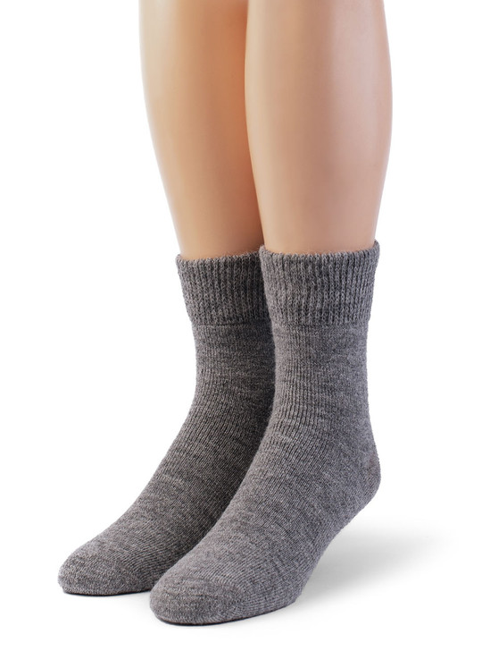Outdoor Ankle High 100% Alpaca Wool Socks -Terry Lined - Unisex Front View