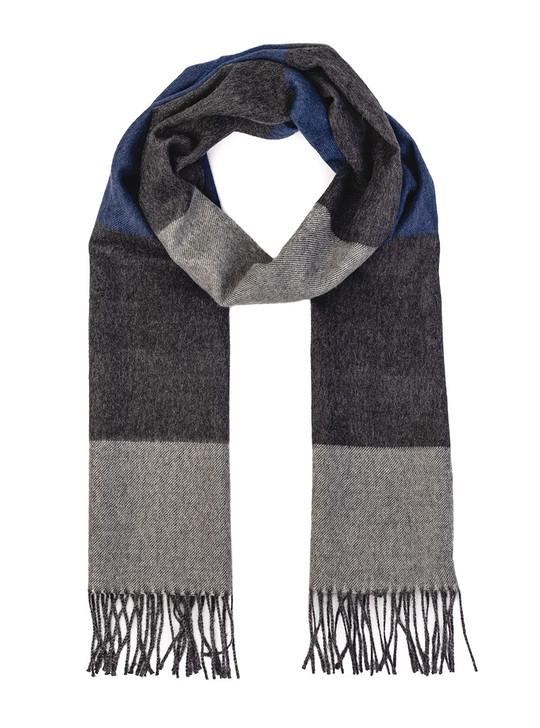 Men's Color Block 100% Baby Alpaca Wool Scarf - Extra Long  Looped