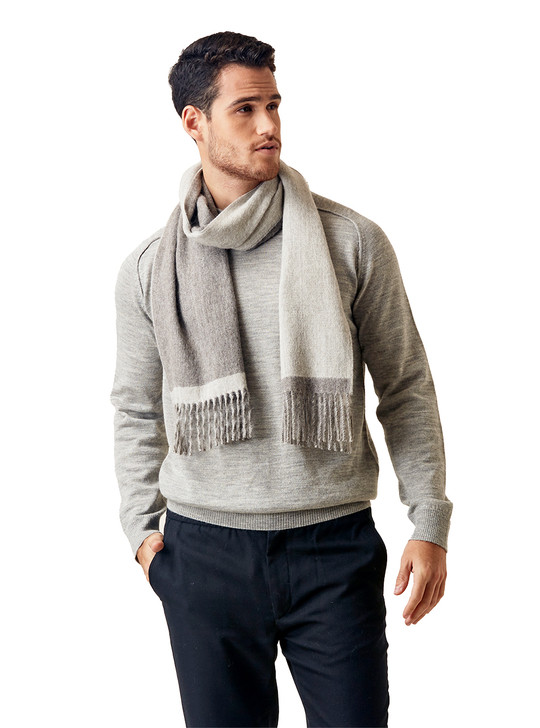 Organic Striped Classic 100% Baby Alpaca Wool Double Sided Scarf On male model - Silver Stripe