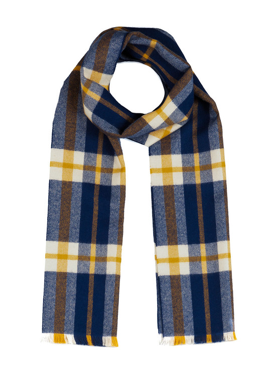 Scotch Plaid Tartan 100% Baby Alpaca Wool Scarf with Micro Fringe