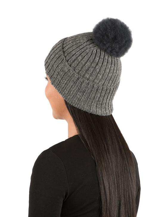 Fur Pom Pom Alpaca Beanie Hat in Charcoal On Model