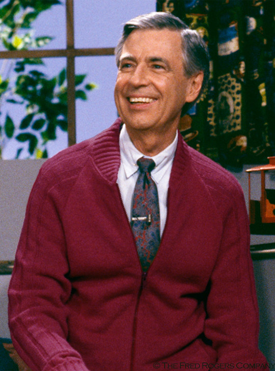 Mr. Rogers Zip Cardigan Sweater - Raglan Ribbed Sleeve in Burgundy © 2019 McFeely-Rogers Foundation All Rights Reserved.
