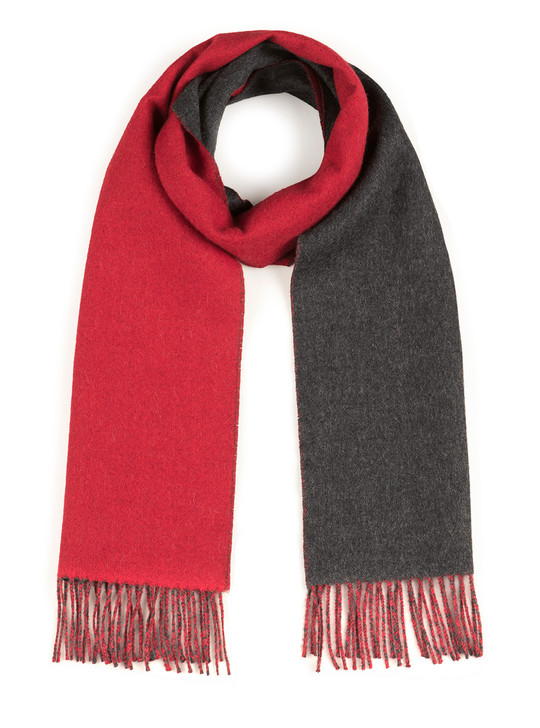 Women's Double Face 100% Baby Alpaca Wool Scarf Red - Charcoal Main