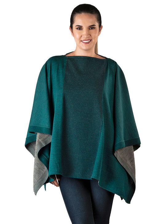 Women's Reversible Boat Neck Poncho  Main - on model Teal / Grey Front